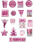 60 / 60th Birthday Pink Glitz Party Range - Party/Plates/Napkins/Banners/Cups