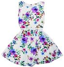 Girls White Floral Print Belted Skater Summer Kids Dress Age 7-13 Years