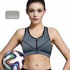 Laxuri Z520 Zipper Front Padded Wirefree Removable Cups Yoga Sports Bra