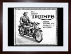 9x7 '' TRIUMPH MOTORCYCLE VINTAGE UK VINTAGE AD RETRO FRAMED ART PRINT F97X1563 $19.49 USD on eBay