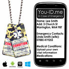 Medical ID Necklace IDENTITY SOS Tag Talisman SMS Text Alert PVC Camouflage