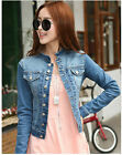 Fashion Leasure Women Jean denim multi button round collar top coat short Jacket