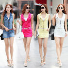 Fashion Sleeveless colorful Denim Zipper belt slim Short mini Dress