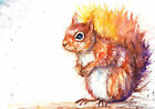 Original Watercolour Red Squirrel Print by Artist Be Coventry wildlife art