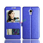 For Meizu Meilan Smart Phones Case Magnetic Silk PU Leather Stand Window Cover