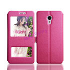 Magnetic Silk PU Leather Stand Window Case Cover for Meizu Meilan Smart Phones