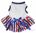 Plain Queen's Day 4th July White Top RWB Striped Skirt Pet Dog Puppy Cat Dress