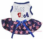 Miss USA 4th July White Cotton Top Pink White Star Tutu Pet Dog Puppy Cat Dress