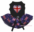 Queen Day Union Jack Heart Black Top Blue UK Flag Tutu Pet Dog Puppy Cat Dress