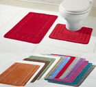 New Style Miami 2 Piece Bath Mat & Pedestal Set Non Slip Bathroom Set