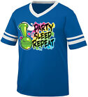 Party Sleep Repeat Bong Hit Smoke Pot Weed College Lazy Men's V-Neck Ringer Tee