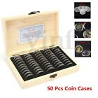 Wooden Coins Display Storage Box Case for Slab Certified Coin With 50X Capsules