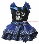 My Ship Don't Stink Black Top Navy Blue Sailor Satin Trim Skirt Girls Set NB-8Y
