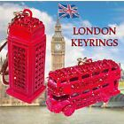 KEYRING METAL RED BUS, RED TELEPHONE BOX, WITH DIAMONTE EFFECT