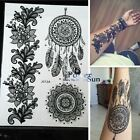 1PC Large Indian Sun Flower Henna Temporary Tattoo Black Mehndi Feather Style $7.07 USD on eBay
