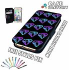 Blue Purple Diamonds Swag Fashion Print - Leather Flip Wallet Phone Case Cover