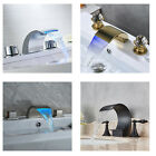3PCS Bathroom Basin Faucet Double Handles Vessel Sink Mixer Tap Deck Mounted