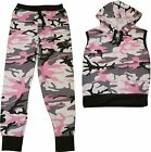 Girls Pink Camouflage Sleeveless Hooded Trackie Set Outfit Clothes 7-13 Years