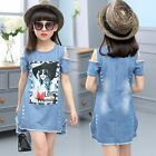 New Fashion Baby Girls Summer Dress Denim Casual Kids Wedding Princess Dress