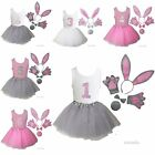Girls 1st-6th Birthday Tank Bunny Ears Bowtie Tail Tutu Paws Outfit Costume