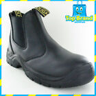 CHEAP SAFETY WORK BOOTS REAL Black LEATHER STEEL CAP WORK BOOTS slip on