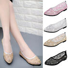 Womens Girls Mesh Breathable Hollow Flat Lace Sandals Sequins Chic Shoes Pumps