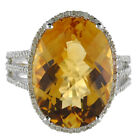 14k White Gold Large Oval Citrine And Diamond Ring