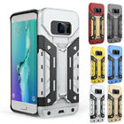 Bracket Hybrid Rugged Armor Shockproof Card Slots Case For Samsung Galaxy Phones