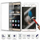 Tempered Glass + Ultra Thin Clear TPU Soft back Protective Case For Huawei 2017