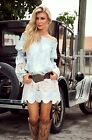 18. UNION OF ANGELS TANIA SKY BLUE IVORY LACE INSERT DRESS