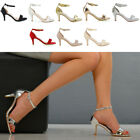 Womens Low Heel Sandals Peep Toe Stiletto Ladies Barely There Ankle Strap Shoes