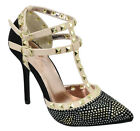 Rivera Women Stiletto Heel Pointy Toe Studded Pumps Rhinestone Bling Black ADORA