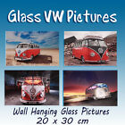 VW Camper Van Surf Design Glass Wall Art size 30 X 20cm 4 different Pictures