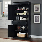 Black Kitchen Pantry Cabinet Wooden Tall Large Kitchen Storage Linen With Doors
