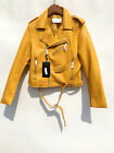 Women's Faux Leather Motorcycle Belted Jacket Biker Yellow Blue Red XS-XL