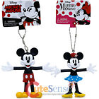Disney Retro Bendable Key Chain Mickey Mouse Minnie Mouse Figure Key Holder