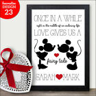 Love Disney Fairytale Personalised Birthday Anniversary Gifts Presents Wife Her
