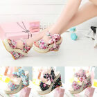 Summer Womens Bowknot Open Toe Flower Print Bow High Heel Shoes Wedge Sandals