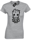 GUARDIANS GROOT BABY CARTOON LADIES T SHIRT MARVEL INFINITY STAR LORD WARS DRAX