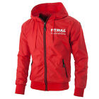 Athletic V Nylon Hooded Windbreaker Jacket in Red Pit Bull West Coast