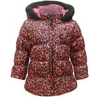 Girls Babies Minx Cerise & Black Leopard Print Winter Hooded Jacket.12-24 Months