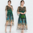Womens V Collar Slim Mid Long Dress Color Stitching Summer Casual Floral Print