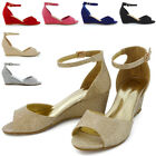 Strappy Low Heel Wedge Womens Sandals Ankle Strap Party Peeptoe Courts Shoes 3-8