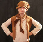 Victorian-URCHIN Brown Waistcoat, Neck Scarf & Cap All Ages/Sizes