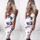 Women V-neck Bandage Bodycon Floral Summer Evening Party Cocktail Mini Dress