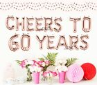 Cheers to 60 years, 70, 50, 18, 16 Rose Gold Balloons, Silver, Gold Letter