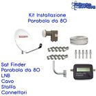 KIT COMPLETO PARABOLA SATELLITARE 80 LNB TWIN STAFFA FINDER CAVO 5mm