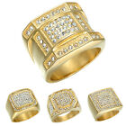 Gold Plated Stainless Steel Band Men's Bling Crystal Hip Hop Ring Size 8-12