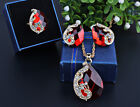 NEW Women Pendant Rarrings 3pcs Ring Crystal Necklace Water Peacock Droplets