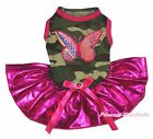 Rainbow Butterfly Camouflage Top Bling Hot Pink Tutu Pet Dog Puppy Cat Dress Bow